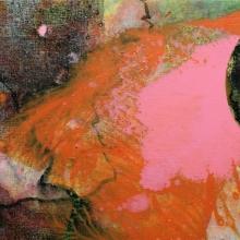 abstrakcja z czarnym kołem, 18 x 24 cm
