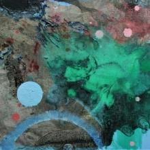 abstrakcja z niebieską kropką, 18 x 24 cm