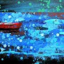 Czerwona łódź I, 40 x 50 cm