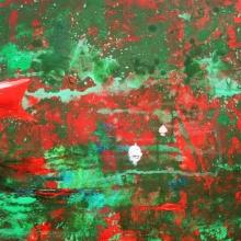 Czerwona łódź, 37 x 50 cm, olej na płótnie